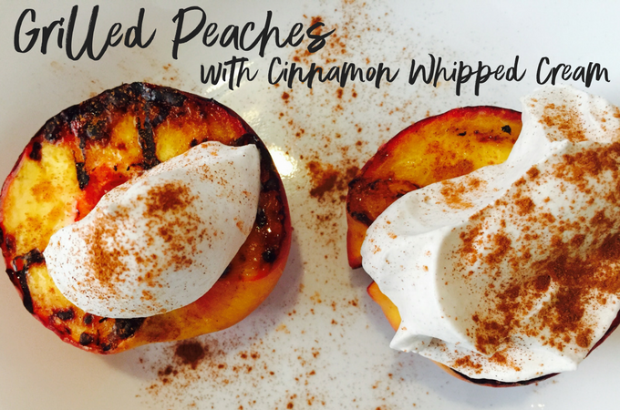 Grilled peaches with cinnamon whipped cream make for the perfect easy summer dessert on the BBQ!