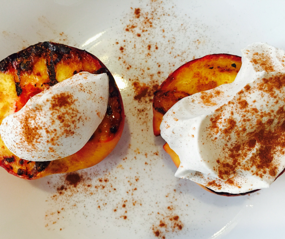 Grilled Peaches With Cinnamon Whipped Cream