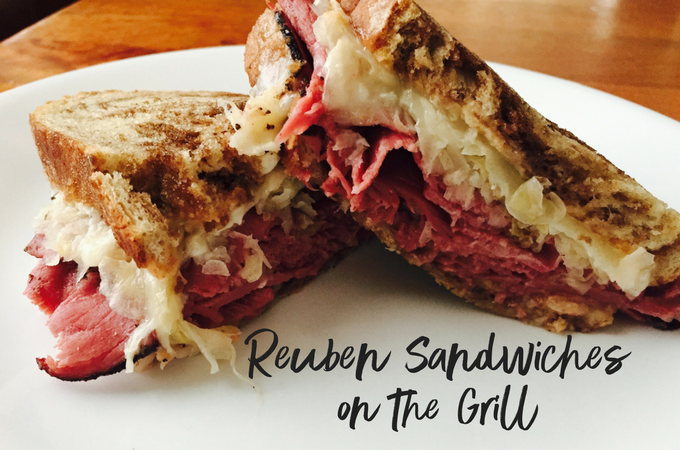 A hot, melty rueben sandwich..because why NOT throw your sandwiches on the grill??